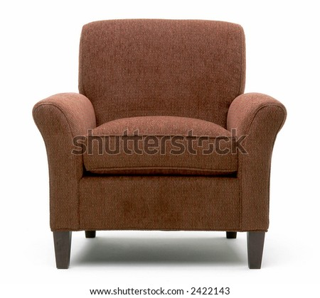 Head-on view of fabric chair