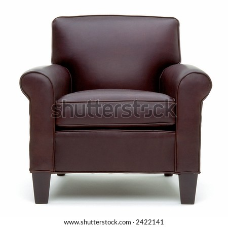 Head on view of leather chair