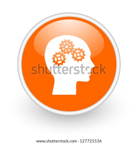 head orange circle glossy web icon on white background