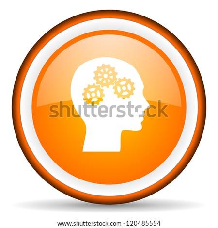 head orange glossy circle icon on white background