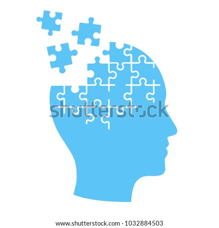 Head profile with jigsaw puzzle pieces falling apart. Alzheimers and dementia, mental illness and brain disorder illustration.