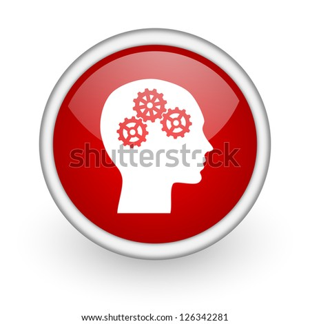 head red circle web icon on white background