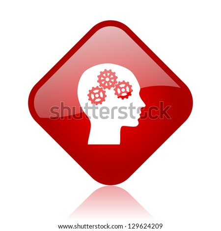 head red square glossy web icon