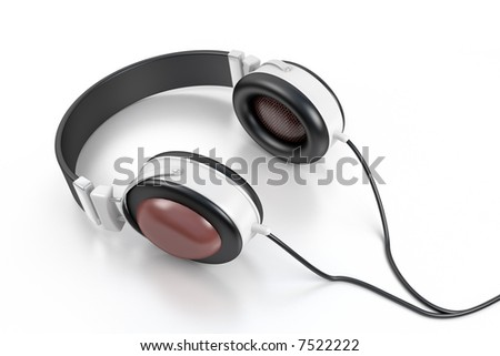 head sets against the white background