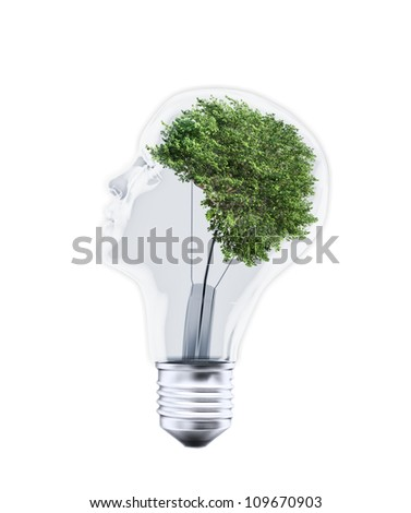 Head shaped bulb with a tree inside
