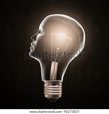 Head shaped light bulb - creativity concept