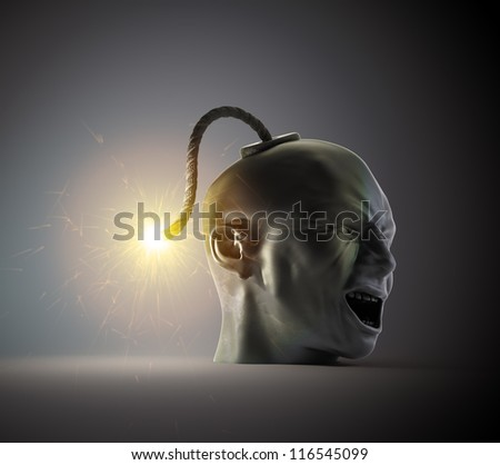 Head shaped vintage bomb about to explode
