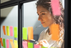 Head shot close up thoughtful young female boss team leader looking at kanban scrum glass window board, developing start up project marketing strategy, managing workflow, checking tasks at office.