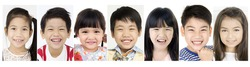 Head shot Group of Asian child Laughing people , Look at camera with smile face .