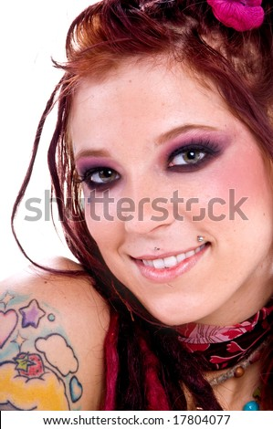 tattooed young hippie woman with