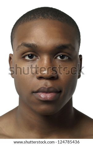 Head shot of a young african american man over a white background