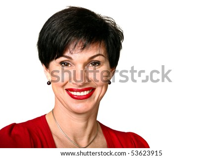 Head shot of woman in red sweater smiling