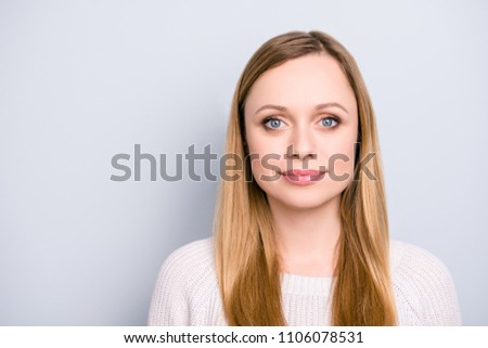 Head shot portrait of trendy gorgeous cute girl with natural makeup looking at camera isolated on grey background having caucasian nationality #1106078531