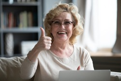 Head shot portrait smiling overjoyed mature woman showing thumb up, looking at camera, sitting on couch, using laptop, satisfied customer recommending online service quality, shopping offer
