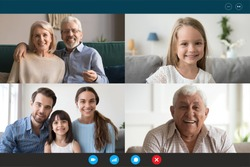 Head shot portraits webcam laptop screen view diverse people using videoconference application enjoy online meeting. Multi generational family involved in group videocall distant communication concept
