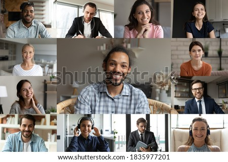 Head shot screen view diverse colleagues group brainstorming online, engaged in conference, internet meeting, business people partners brainstorming, discussing project strategy, video call