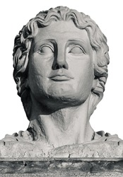 Head Statue of Greek Leader Alexander The Great on White