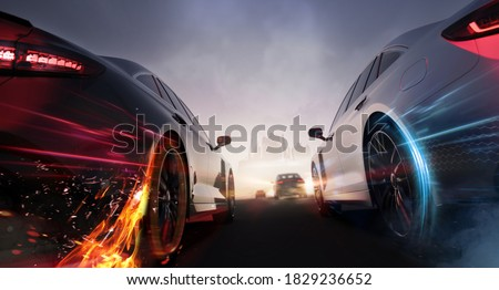 Head to head car racing, moving towards city - street race concept (non-existent car design, full generic sedan) - 3d illustration, 3d render
