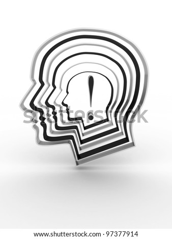 Head with a exclamation mark inside. 3D image