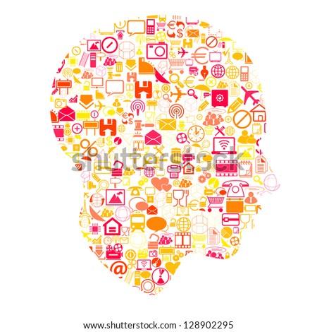 head with network symbols