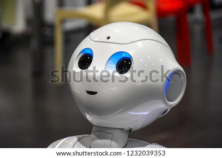 Head with the lightning eyes of a humanoid robot
