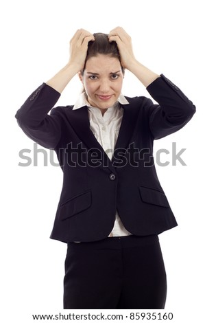 Headache -  Businesswoman with his hands on her head isolated over white background