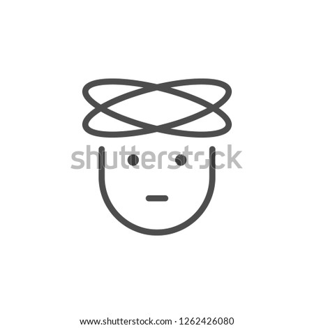 Headache line icon isolated on white