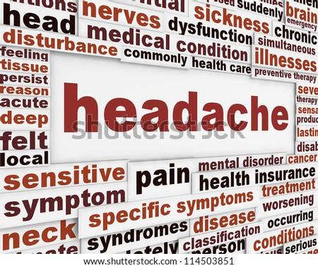 Headache medical poster design. Migraine disorder message background