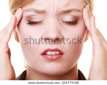 Headache, migraine and stress. Worried businesswoman upset woman suffering from head pain isolated on white.