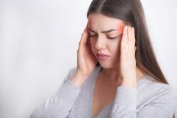 Headache Pain. Beautiful Woman Having Painful Migraine. Health