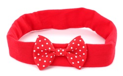 Headband with red dotted hair bow tie