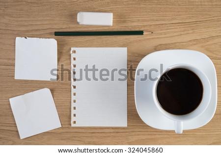 Header business branding mock up set in workspace