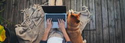 Header for website of young woman sitting on woodern terrace at home with dog using modern laptop device, Website banner