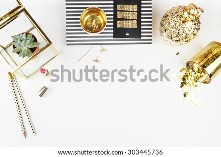 Header website or Hero website, Mockup product view table gold accessories. Flat lay