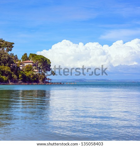 Headland, trees, and pier or jetty on a blue ocean and cloudy sky. Bay beach in Monte Argentario, Porto Santo Stefano, Tuscany, Italy