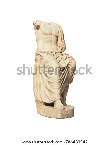 Headless antique marble stature of roman emperor isolated on white. Ancient art sample.