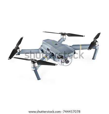 Shutterstock Headless Quadcopter Drone with Action Camera Isolated on White Background. Side View of Aerial Quad Copter with Digital Camera. Flying Remote Control Air Drone