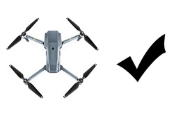 Headless Quadcopter Drone with Action Camera Isolated on White Background. Top View of Aerial Quad Copter with Digital Camera. Flying Remote Control Air Drone