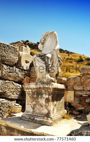Headless statue in the ruins at Ephesus, Turkey. Useful file for your travel brochure, adventure site and travel companies.
