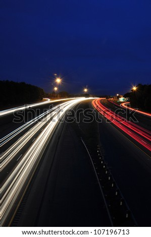 Headlight and taillight trails of highway traffic in Raleigh, North Carolina
