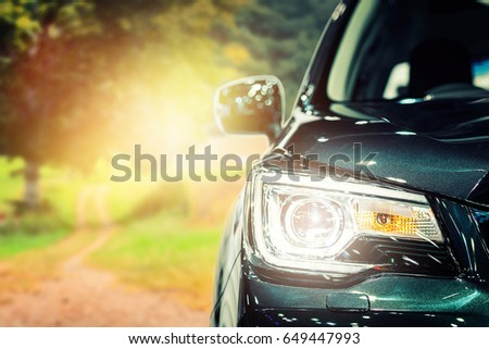 Headlight  car, closeup #649447993