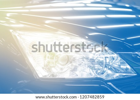 Headlight car modern car headlight detail.selective focus. #1207482859