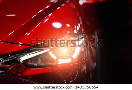Headlight lamp of new cars,Close up detail on one of the LED headlights modern car. Сток-фото ©