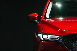 Headlight lamp of new cars,copy space.