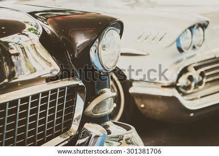 Headlight lamp  vintage car - vintage filter effect #301381706