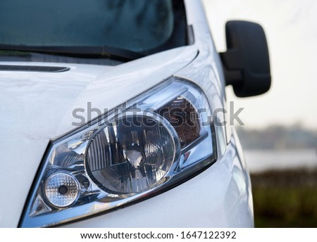 headlight of modern prestigious car close up.