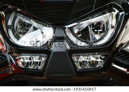 Headlight of the tourist motorcycle. Сток-фото ©