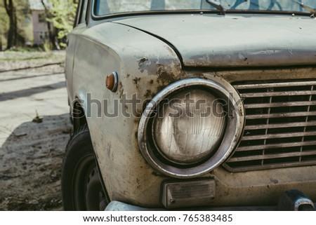 Headlight retro classic car close up, vintage toned #765383485