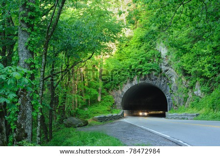 Headlights emerging from a tunnel in Great Smoky Mountains National Park