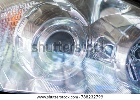 Headlights, Headlights from sporty car close up #788232799